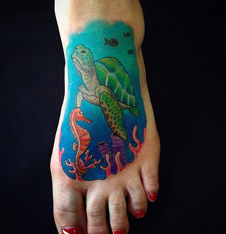 Turtle And Seahorse Under The Sea Tattoo By Jess Alther Color Black Gold Tattoo Co