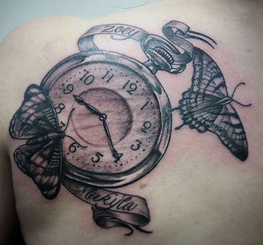 Pocket Watch And Butterflies Tattoo By Ashley Gray Black And Grey Crimson Empire Tattoo
