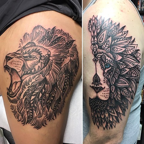 Lion Tattoos By Cheyanne Kot Black And Grey With Color Crimson Empire Tattoo