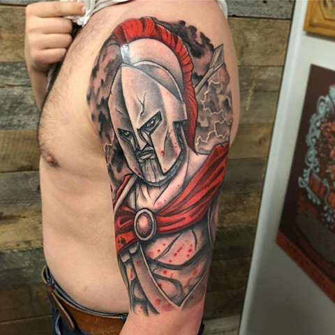 Spartan Tattoo By Curt Semeniuk Color Crimson Empire Tattoo