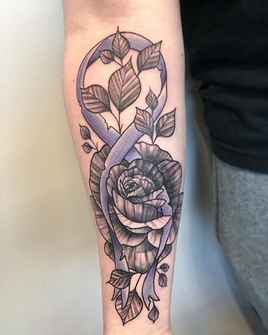 Floral and Purple Ribbon Forearm Tattoo by Vanessa Spezowka Black and Grey Crimson Empire Tattoo