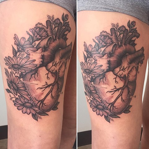 Heart With Flowers Tattoo By Adrienne Alexander Black And Grey Crimson Empire Tattoo