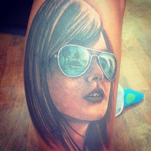 Portrait Of Woman Tattoo By Kyiel Cholik Color Crimson Empire Tattoo