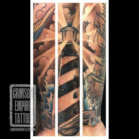 Lighthouse on forearm by Jared Phair. Follow Jared @jroctizzle