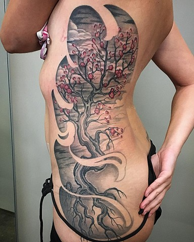 Cherry Blossoms Tree Tattoo By Dale Moostoos Black And Grey With Color Crimson Empire Tattoo