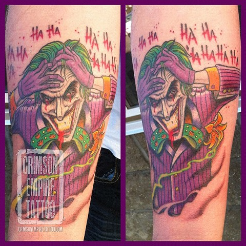 Joker on forearm by Curt Semeniuk. Follow Curt @ol_curty_bastard