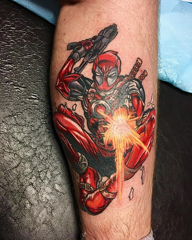 Deadpool Tattoo By Chris Labrenz Color Black Gold Tattoo Co