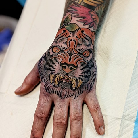 Traditional Tiger Hand  Tattoo by Chris Benson Color Crimson Empire Tattoo