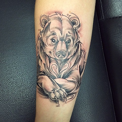 Illustrative Bear Tattoo By Sarah Michelle Black And Grey Black Gold Tattoo Co