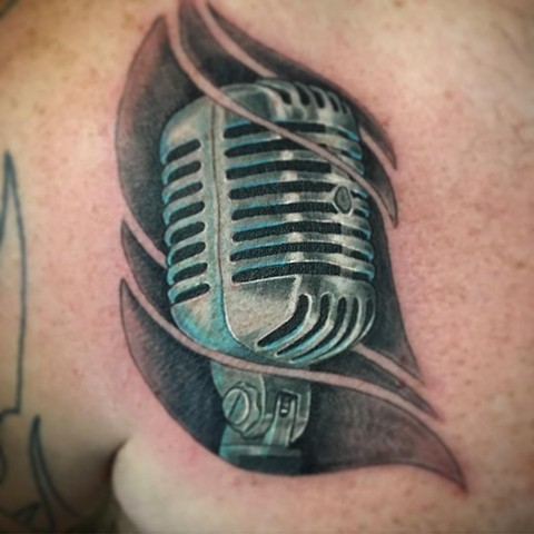 Microphone Tattoo By Dale Moostoos Color Crimson Empire Tattoo