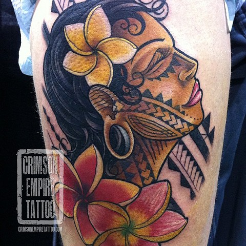 Face and flowers on thigh by Jared Phair. Follow Jared @jroctizzle