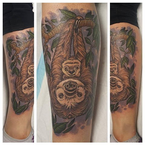 Sloth Mom And Baby Tattoo By Sheila Anderson Color Crimson Empire Tattoo