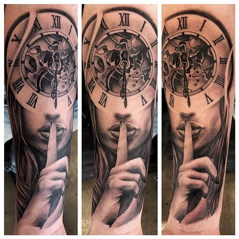 Lady with Clock Tattoo By Chad Lavers Black And Grey Crimson Empire Tattoo