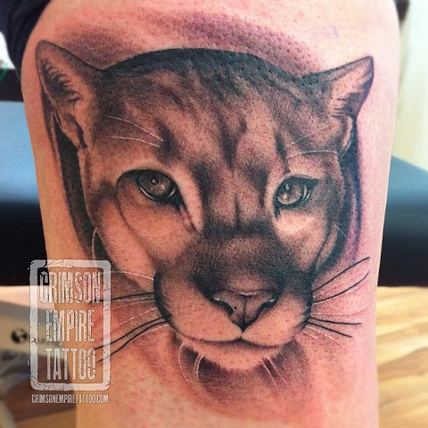 Panther Face on thigh by Jared Phair