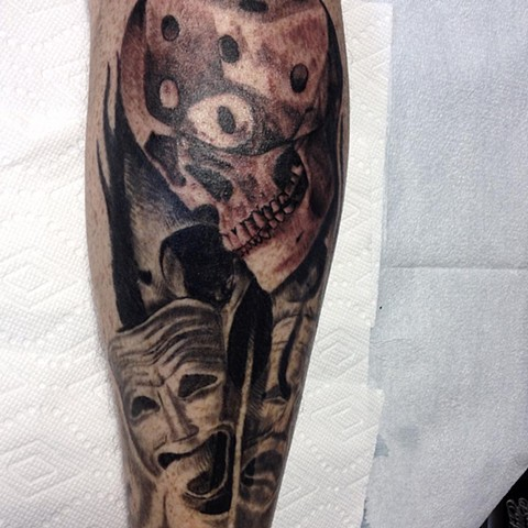 Skull Dice With Mask Tattoo By Alan Coates Black And Grey Black Gold Tattoo Co