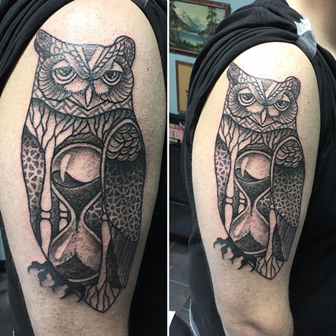 Geometric Owl And Hourglass Tattoo By Cheyanne Kot Pointillism Crimson Empire Tattoo