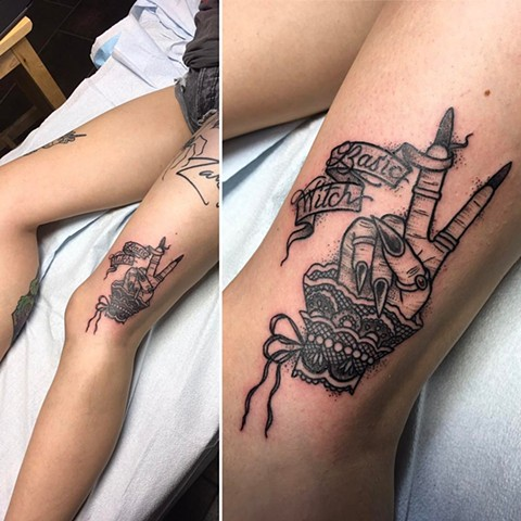 Witches Hand And Script Tattoo By Cheyanne Kot Black And Grey Crimson Empire Tattoo