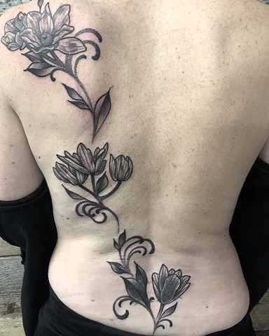 Floral Back Tattoo By Cheyanne Kot black work Crimson Empire Tattoo