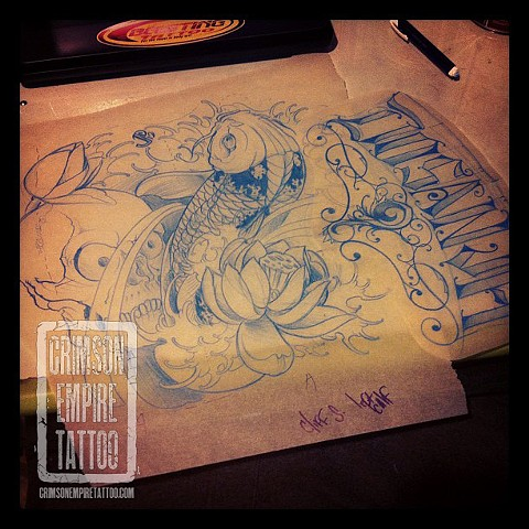 Koi and skull sketch by Jared Phair. Follow Jared @jroctizzle