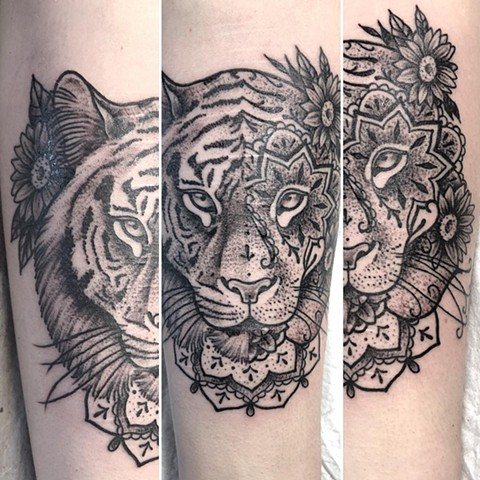 Tiger Arm Tattoo By Cheyanne Kot black work Crimson Empire Tattoo