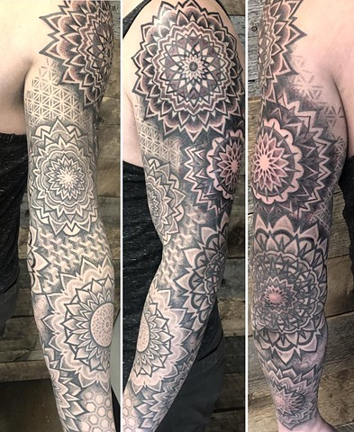 Mandala Sleeve Tattoo By Cheyanne Kot black work Crimson Empire Tattoo