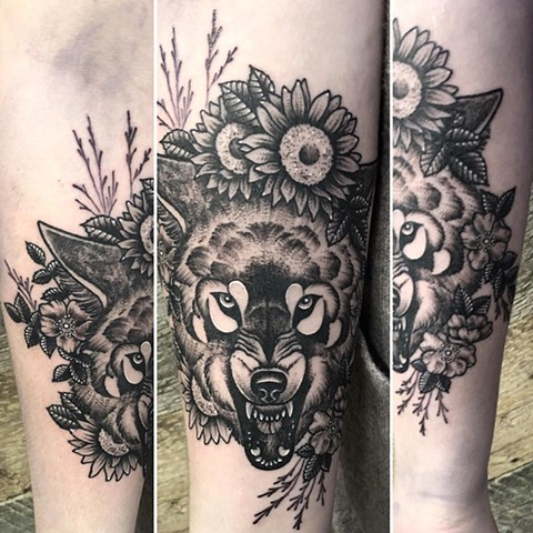 Wolf Arm Tattoo By Cheyanne Kot black work Crimson Empire Tattoo