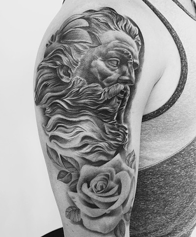 Zeus And Roses Tattoo By Chad Lavers Black And Grey Crimson Empire Tattoo