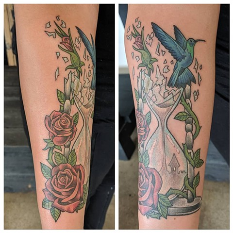 Hourglass Arm Tattoo by Sheila Anderson color Crimson Empire Tattoo