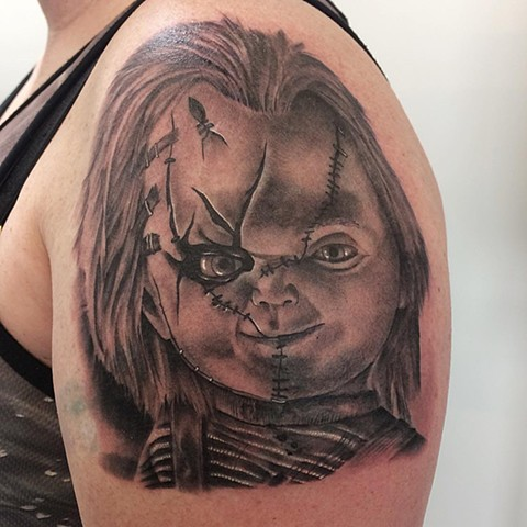 Chucky Tattoo By Chad Lavers Black And Grey Crimson Empire Tattoo