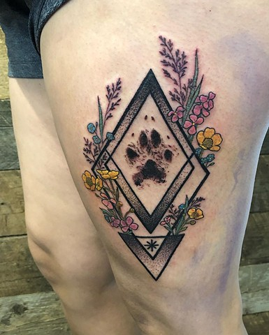 Paw Print Flowers Gemoetric Thigh Tattoo by Cheyanne Kot Black Work Crimson Empire Tattoo