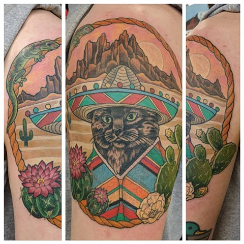 Mexican Cat Tattoo By Sheila Anderson Crimson Empire Tattoo