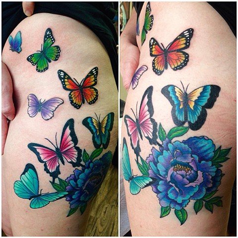 Flower And Butterflies Tattoo By Jess Alther Color Black Gold Tattoo Co