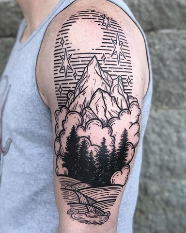 Mountain Scene Upper Arm Tattoo by Vanessa Spezowka Black Work Crimson Empire Tattoo