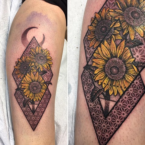 Sunflowers And Geometric Background Tattoo By Cheyanne Kot  Pointillism With Color Crimson Empire Tattoo