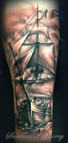 Ship Tattoo By Samantha Storey Black And Grey Crimson Empire Tattoo