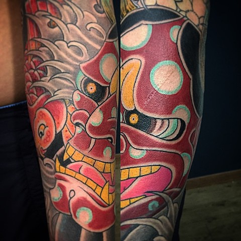 Hannya Mask Tattoo By Guka Color Black Gold Tattoo Co