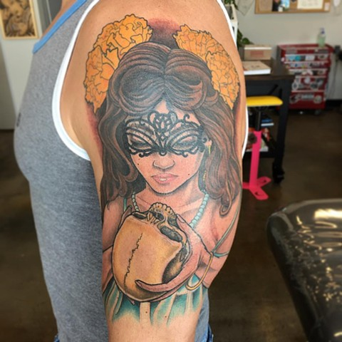 Women And Skull Tattoo By Curt Semeniuk Color Crimson Empire Tattoo