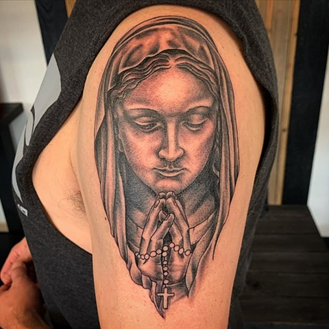 Mary with Praying Hands Arm Tattoo by Dale Moostoos Black and Grey Crimson Empire Tattoo
