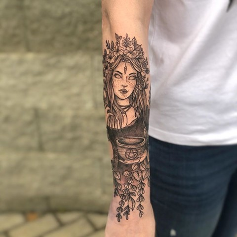 Witch with Cauldron Forearm Tattoo by Vanessa Spezowka Black and Grey Crimson Empire Tattoo