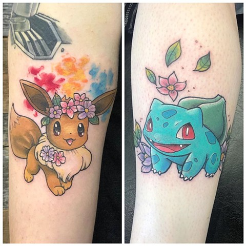 Pokemon Arm Tattoo by Vanessa Spezowka Color Crimson Empire Tattoo