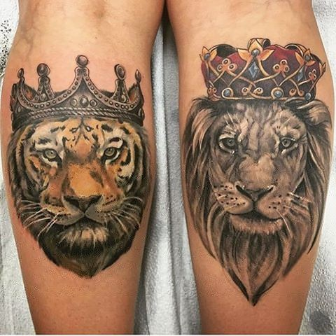 Tiger And Lion Portrait Wearing Crowns Tattoo By Sarah Michelle Color Black Gold Tattoo Co