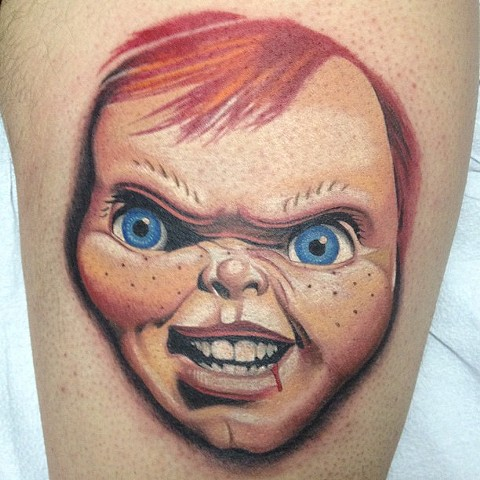 Chucky Tattoo By Marshall Khalil Color Crimson Empire Tattoo