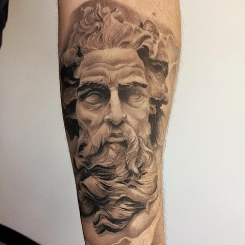Zeus Tattoo By Chad Lavers Black And Grey Crimson Empire Tattoo
