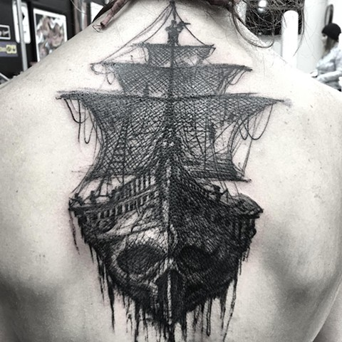 Skull Ship Tattoo By Steve Hayes Black And Grey Black Gold Tattoo Co