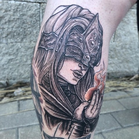 Dark Souls Leg Tattoo by Vanessa Spezowka Black Work Crimson Empire Tattoo