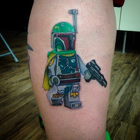 Star Wars Lego Boba Fett Tattoo By Jess Alther Color Black Gold Tattoo Co