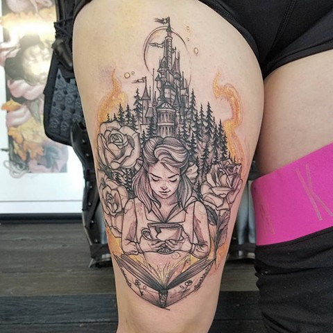 Disney Princess Tattoo By Adrienne Alexander Black Work With Color Crimson Empire Tattoo