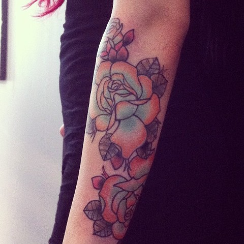 Flowers on arm by Sydney Dyer