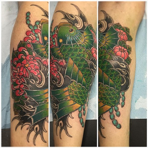 Koi Fish And Chrysanthemum Tattoo By Guka Black And Grey With Color Black Gold Tattoo Co