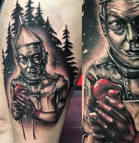 Tin Man Holding Heart Tattoo By Samantha Storey Black And Grey With Color Crimson Empire Tattoo